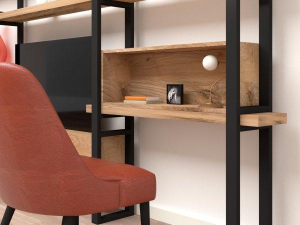 Libreria ferro legno scrivania massello rovere