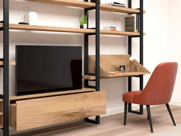 Libreria scrivania legno ferro massello rovere