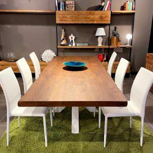 Tavolo da pranzo in legno massello Rovere colore Teak 250x100cm – Dea