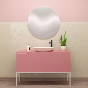 Mobile bagno rosa opaco con cassetti design moderno – Venere