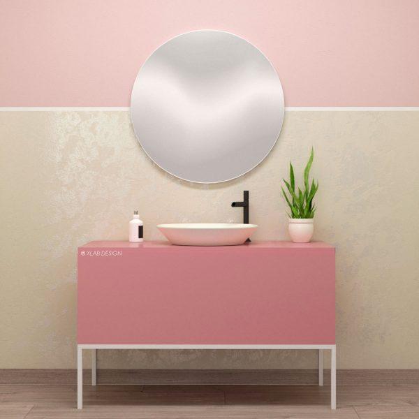 Mobile laccato rosa bagno legno