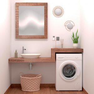 Mobile bagno con lavatrice integrata per piccoli spazi – Rosa