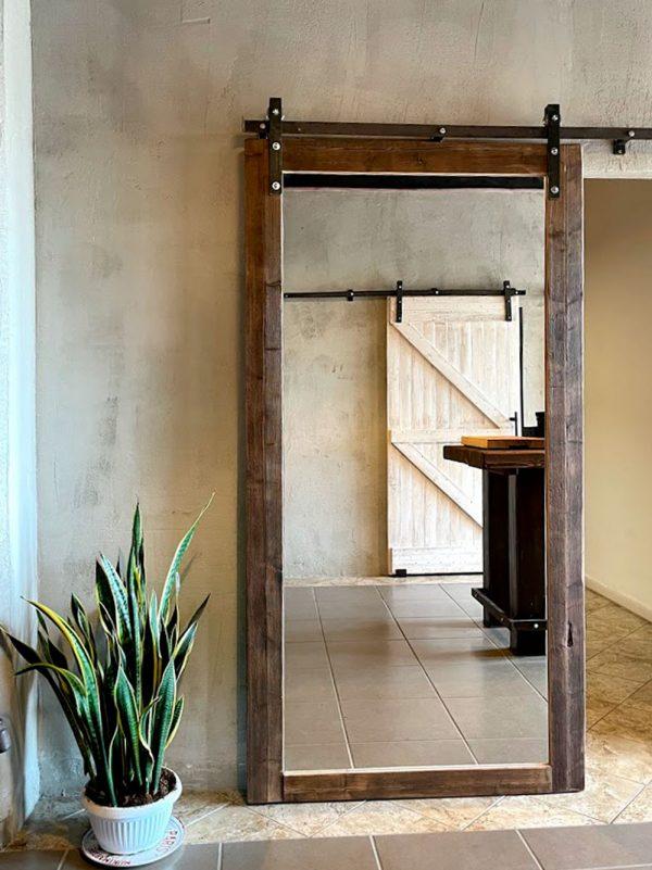 scorrevole legno massello porta specchio