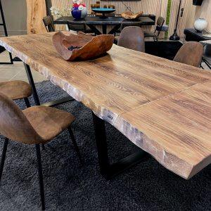 Tavolo allungabile sala da pranzo in legno massello Rovere rustico 280×97 cm Laila