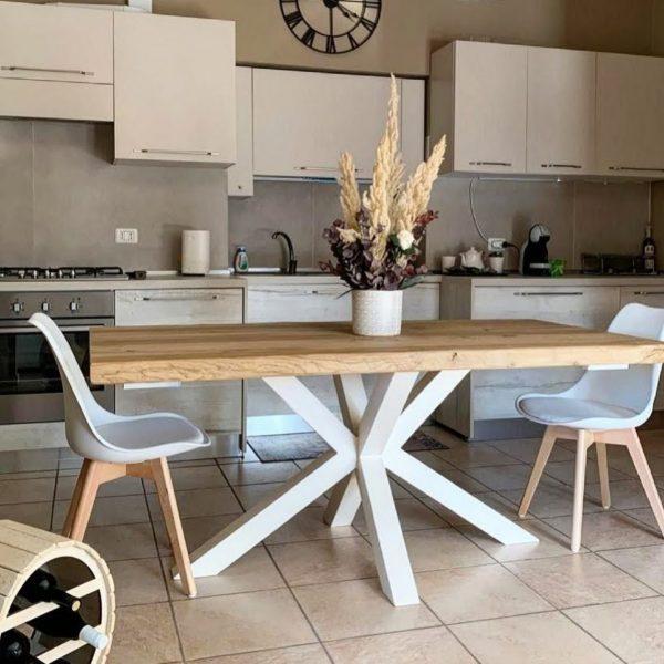 tavolo da cucina in legno massello di rovere naturale