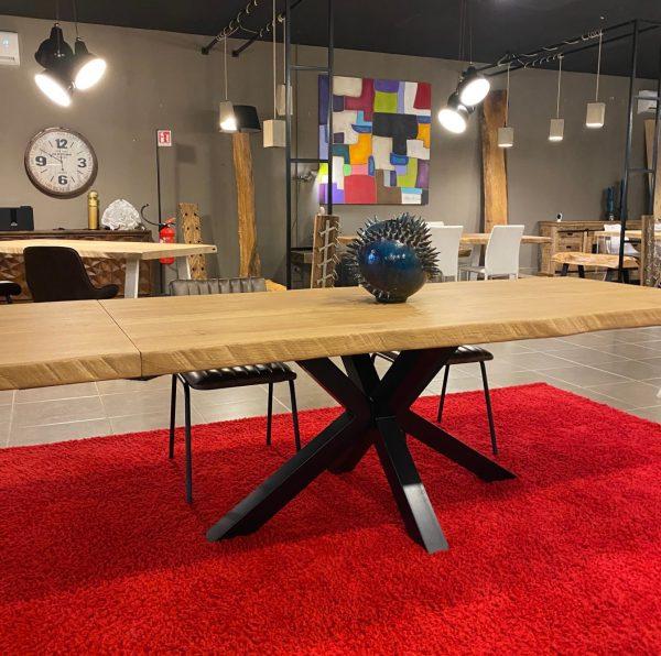 tavolo allungabile in rovere massello con gamba in ferro