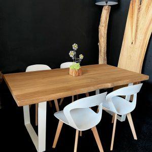 Tavolo legno massello Rovere 180×100 + 4 sedie colore bianco