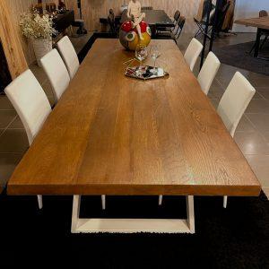 Tavolo di grandi dimensioni in legno massello di Rovere Teak 280x98cm – Ambra
