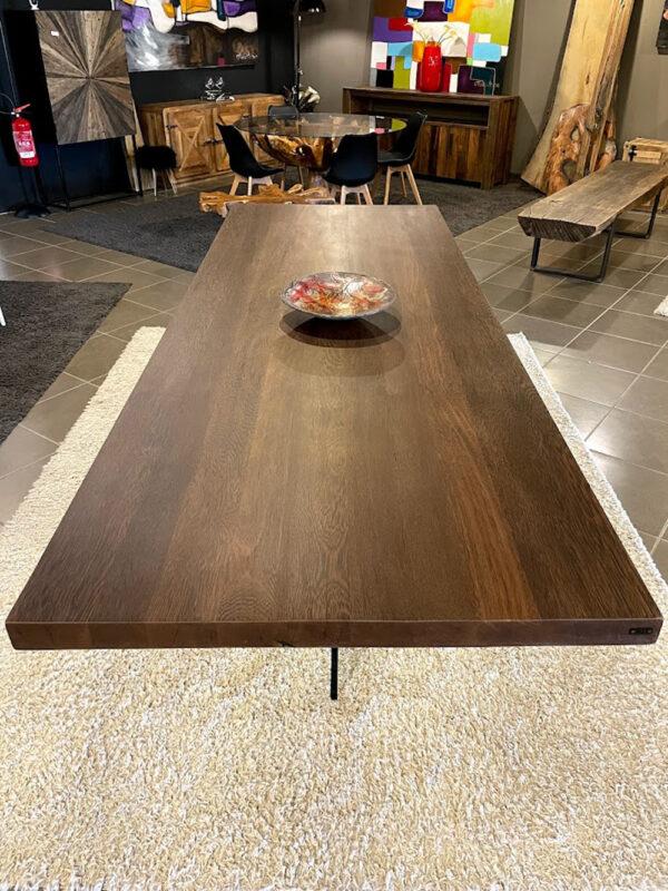 legno massello tavolo gamba cristallo