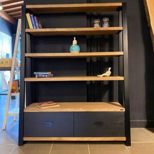 Libreria moderna in stile industriale legno e ferro – Edo