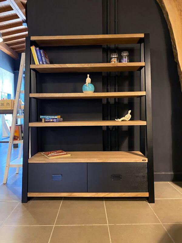 Legno libreria massello ferro tubolare cassetti castagno