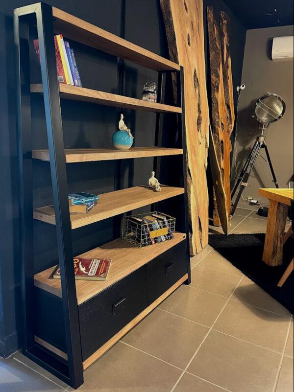 Massello legno castagno acecande libreria cassetti