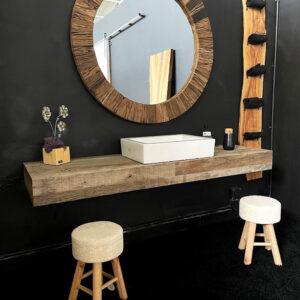 Piano lavabo in legno antico di recupero con top spessore 15 cm – Jasmine