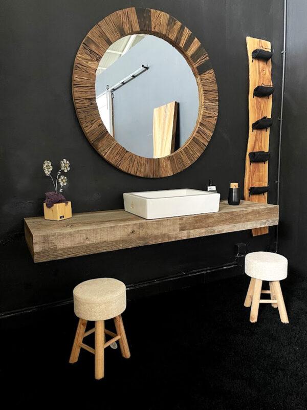 Top piano lavabo mensola legno recupero antico