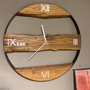 Grande orologio da parete in ferro e legno stile industriale – Robert