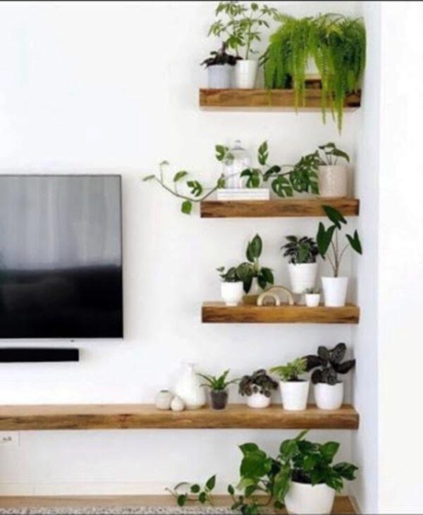 massello legno mensole porta tv