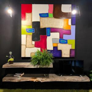 Mensole da parete porta TV in legno massello antico taglio tronco