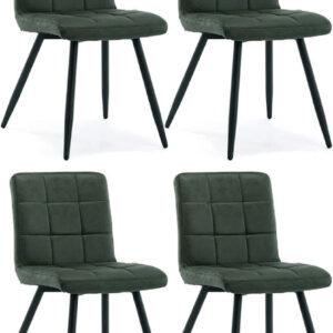 Set 4 sedie imbottite in velluto verde di design