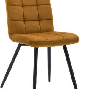 Set 4 sedie imbottite in velluto giallo di design